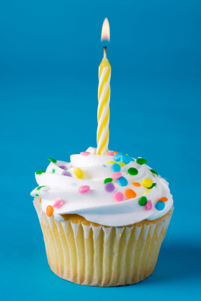 A birthday cupcake with a lighted candle